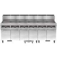 Frymaster SCFHD660G 480 lb. 6 Unit Natural Gas Floor Fryer System with CM3.5 Controls and Filtration System - 750,000 BTU