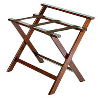CSL 1077CM Deluxe Series Cherry Mahogany High Back Wood Luggage Rack - 3/Pack