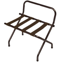 CSL 1055WA-BN-1 Walnut Metal High Back Luggage Rack with Wall Guard