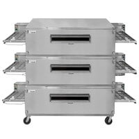 Lincoln 3270-3 Natural Gas Impinger Triple Conveyor Oven Package with 70 inch Long Baking Chamber - 450,000 BTU