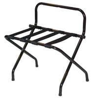 CSL 1055BL-BL Black Metal High Back Luggage Rack with Wall Guard - 6/Pack