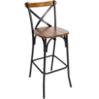 BFM Seating JS88BASH-SB Henry Sand Black Steel Bar Height Chair with Autumn Ash Wooden Back and Seat