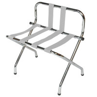 CSL 1055B-C-SV Chrome Metal High Back Luggage Rack with Back Webbing - 6/Pack