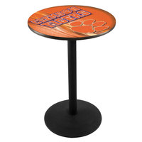 Holland Bar Stool L214B3628CLMSON-D2 28 inch Round Clemson University Pub Table with Round Base