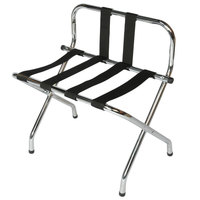CSL 1055B-C-BL Chrome Metal High Back Luggage Rack with Back Webbing   - 6/Pack