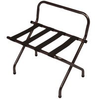 CSL 1055WA-BL-1 Walnut Metal High Back Luggage Rack with Wall Guard