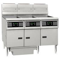 Pitco SG14RS-3FD-D Solstice Liquid Propane 120-150 lb. 3 Unit Floor Fryer System with Digital Controls and Filter Drawer - 366,000 BTU