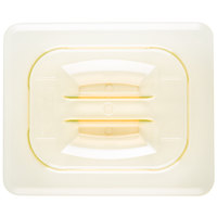Cambro 80HPCH150 1/8 Size Amber High Heat Handled Flat Lid