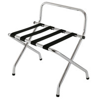 CSL 1055C-BL-1 Chrome Metal High Back Luggage Rack with Wall Guard - 6/Pack