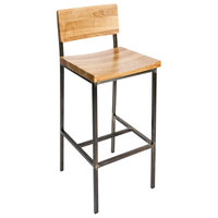 BFM Seating JS33BNTW-RU Memphis Distressed Rustic Clear Coated Steel Bar Height Chair with Natural Ash Wooden Back and Seat