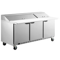 Beverage-Air SPE72HC-18C Elite Series 72 inch 3 Door Cutting Top Refrigerated Sandwich Prep Table with 17 inch Deep Cutting Board