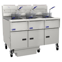 Pitco SG14RS-3FD-SS Solstice Liquid Propane 120-150 lb. 3 Unit Floor Fryer System with Solid State Controls and Filter Drawer - 366,000 BTU