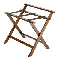 CSL 1077DK Deluxe Series Walnut High Back Wood Luggage Rack - 3/Pack
