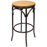 BFM Seating JS800BNTW-RU Henry Distressed Rustic Clear Coated Steel Bar Stool with Natural Ash Wooden Seat