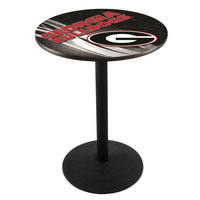 Holland Bar Stool L214B3628GA-G-D2 28 inch Round University of Georgia Pub Table with Round Base