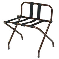 CSL 1055B-WA-BL-1 Walnut Metal High Back Luggage Rack with Back Webbing