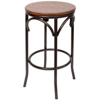 BFM Seating JS800BASH-RU Henry Distressed Rustic Clear Coated Steel Bar Stool with Autumn Ash Wooden Seat