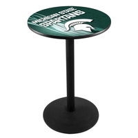 Holland Bar Stool L214B3628MICHST-D2 28 inch Round Michigan State University Pub Table with Round Base