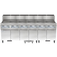 Frymaster SCFHD660G 480 lb. 6 Unit Natural Gas Floor Fryer System with Thermatron Controls and Filtration System - 750,000 BTU