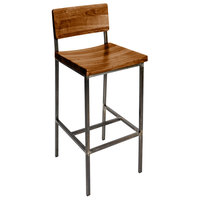 BFM Seating JS33BASH-RU Memphis Distressed Rustic Clear Coated Steel Bar Height Chair with Autumn Ash Wooden Back and Seat