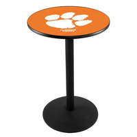 Holland Bar Stool L214B36CLMSON 28 inch Round Clemson University Pub Table with Round Base
