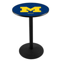Holland Bar Stool L214B36MICHUN 28 inch Round University of Michigan Pub Table with Round Base