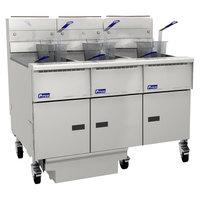 Pitco SG14RS-3FD-M Solstice Liquid Propane 120-150 lb. 3 Unit Floor Fryer System with Millivolt Controls and Filter Drawer - 366,000 BTU