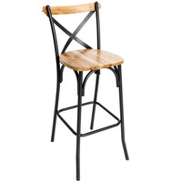 BFM Seating JS88BNTW-SB Henry Sand Black Steel Bar Height Chair with Natural Ash Wooden Back and Seat