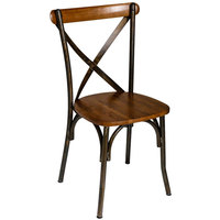BFM Seating JS88CASH-RU Henry Distressed Rustic Clear Coated Steel Side Chair with Autumn Ash Wooden Back and Seat