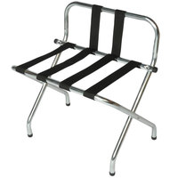 CSL S1055B-C-BL Zinc Metal High Back Luggage Rack with Back Webbing - 6/Pack
