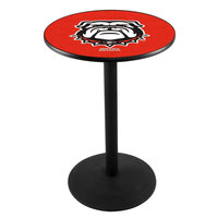 Holland Bar Stool L214B36GA-DOG 28 inch Round University of Georgia Pub Table with Round Base