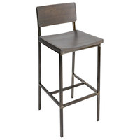 BFM Seating JS33BGRA-RU Memphis Distressed Rustic Clear Coated Steel Bar Height Chair with Gray Ash Wooden Back and Seat