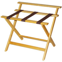 CSL 1077LT Deluxe Series Light Wood High Back Wood Luggage Rack - 3/Pack