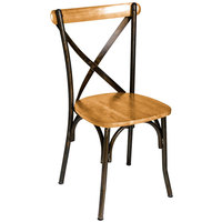 BFM Seating JS88CNTW-RU Henry Distressed Rustic Clear Coated Steel Side Chair with Natural Ash Wooden Back and Seat