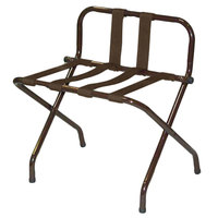 CSL 1055B-WA-BN-1 Walnut Metal High Back Luggage Rack with Back Webbing