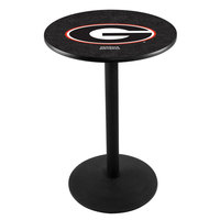 Holland Bar Stool L214B36GA-G 28 inch Round University of Georgia Pub Table with Round Base
