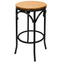 BFM Seating JS800BNTW-SB Henry Sand Black Steel Bar Stool with Natural Ash Wooden Seat