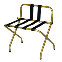 CSL 1055B-I-B-1 Antique Inca Gold Metal High Back Luggage Rack with Back Webbing