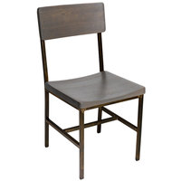 BFM Seating JS33CGRA-RU Memphis Distressed Rustic Clear Coated Steel Side Chair with Gray Ash Wooden Back and Seat