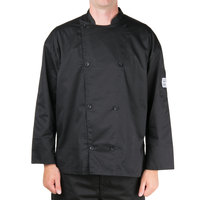Chef Revival Silver J200 Black Unisex Customizable Performance Long Sleeve Chef Jacket with Mesh Back - M