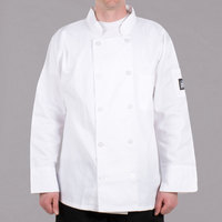 Chef Revival Bronze J100-XS Size 32 (XS) Customizable White Double-Breasted Chef Coat - Poly-Cotton Blend