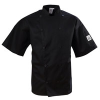 Chef Revival J109BK-S Black Size 36 (S) Short Sleeve Double-Breasted Chef Coat - Poly Cotton