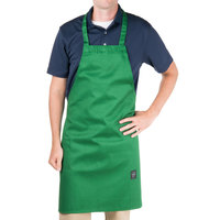 Chef Revival 601NP-GN Customizable Kelly Green Bib Apron - 34 inchL x 28 inchW