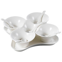 CAC PTB-11SET Paris French Elite Bright White 11-Piece Porcelain Condiment Cup Set - 12 Sets / Case