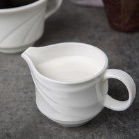 Syracuse China 995679519 Resonate 3.75 oz. Royal Rideau White Porcelain Stacking Creamer - 36/Case