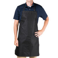 Chef Revival 601MAJ-BK Full-Length Vinyl Backed Black Bib Apron - 33 inchL x 27 inchW