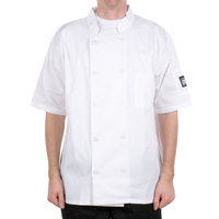 Chef Revival Bronze J105-XS Size 32 (XS) Customizable White Short Sleeve Double-Breasted Chef Coat - Poly-Cotton Blend