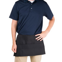 Chef Revival 605PS-BK Black 3-Pocket Waist Apron - 12 inchL x 24 inchW