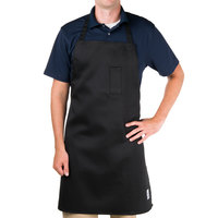 Chef Revival 412BA-BK Full-Length Plastic Clip-Free Adjustable Black Bib Apron - 34 inchL x 29 inchW