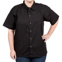 Chef Revival CS006BK-4X Size 60-62 (4X) Black Customizable Short Sleeve Cook Shirt - Poly-Cotton Blend